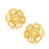 Heart petal plain gold studs