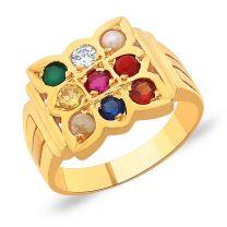 Surya Gold Navratna Ring by KaratCraft