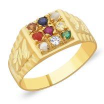 Mangala Navratna Gold Ring by KaratCraft