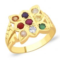 Brihaspati Navratna Gold Ring by KaratCraft