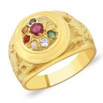 Shani Navratna Gold Ring by KaratCraft