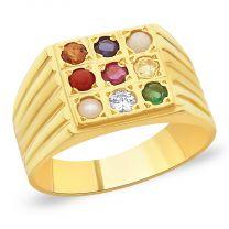 Rahu Navratna Gold Ring by KaratCraft