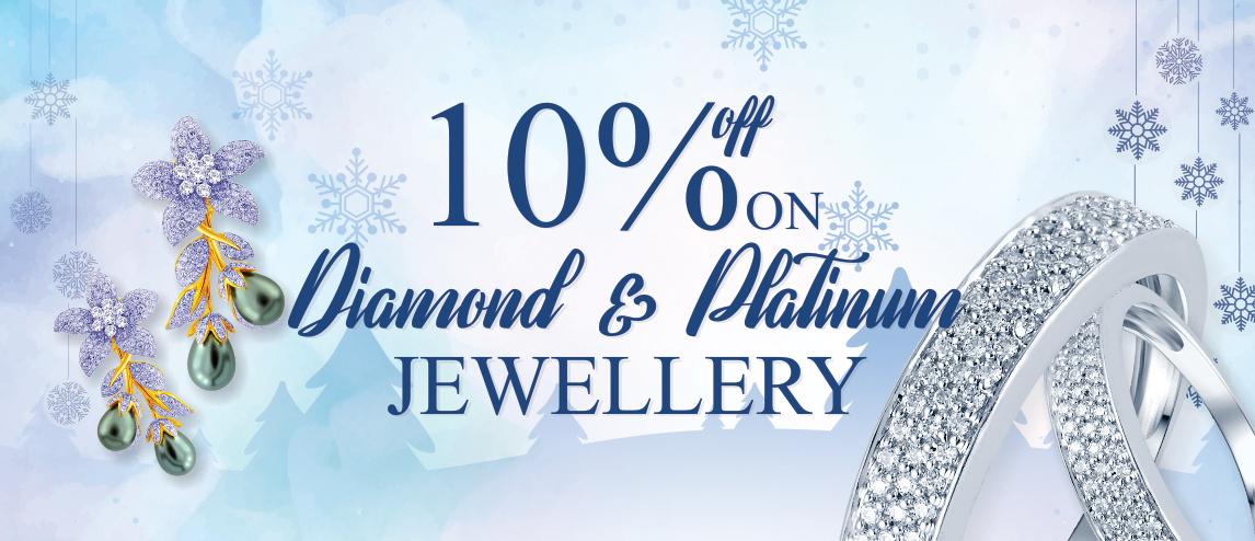10% off on diamond & Platinum jewelry