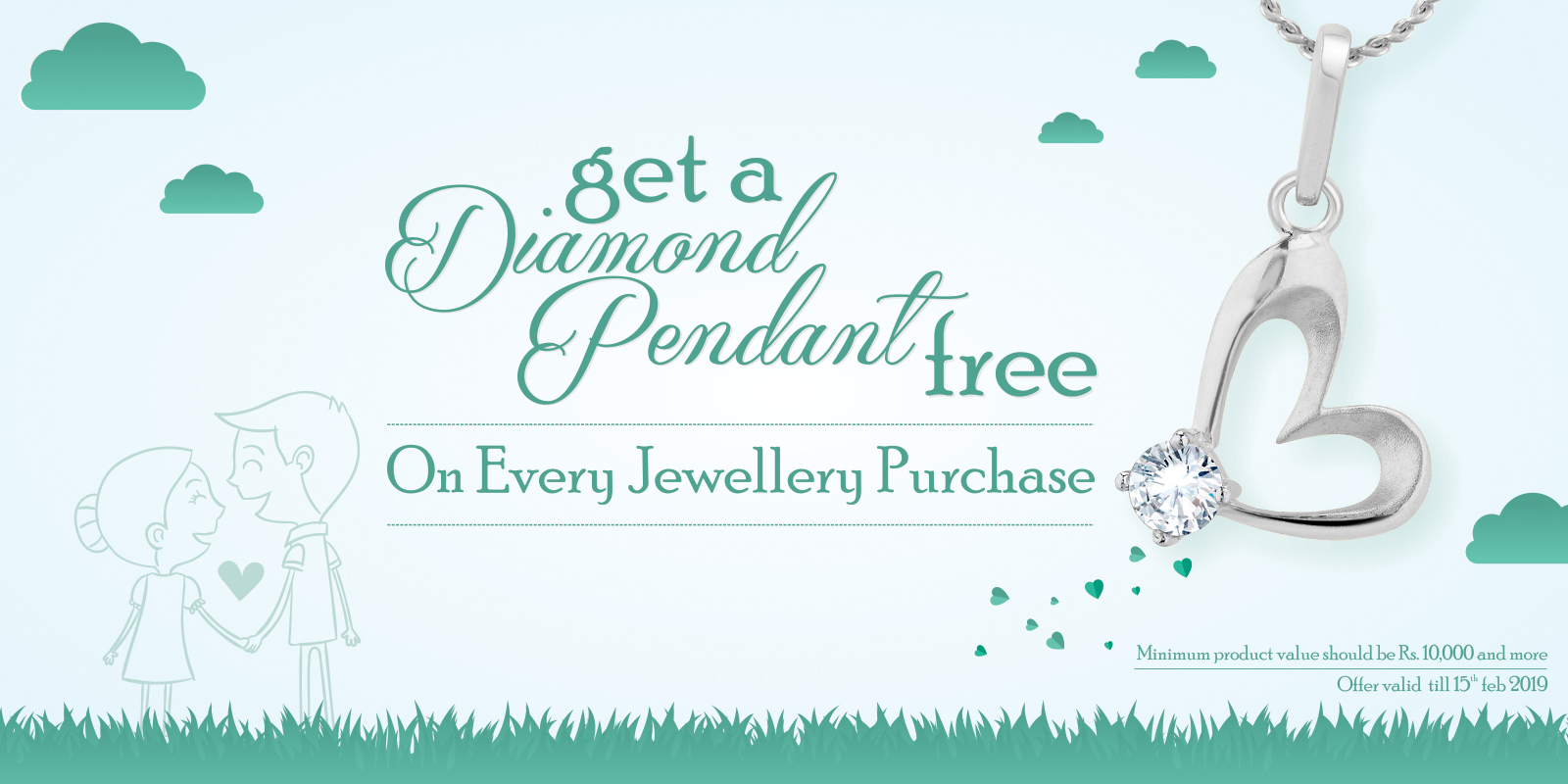 Get diamond pendent free on every purchase.