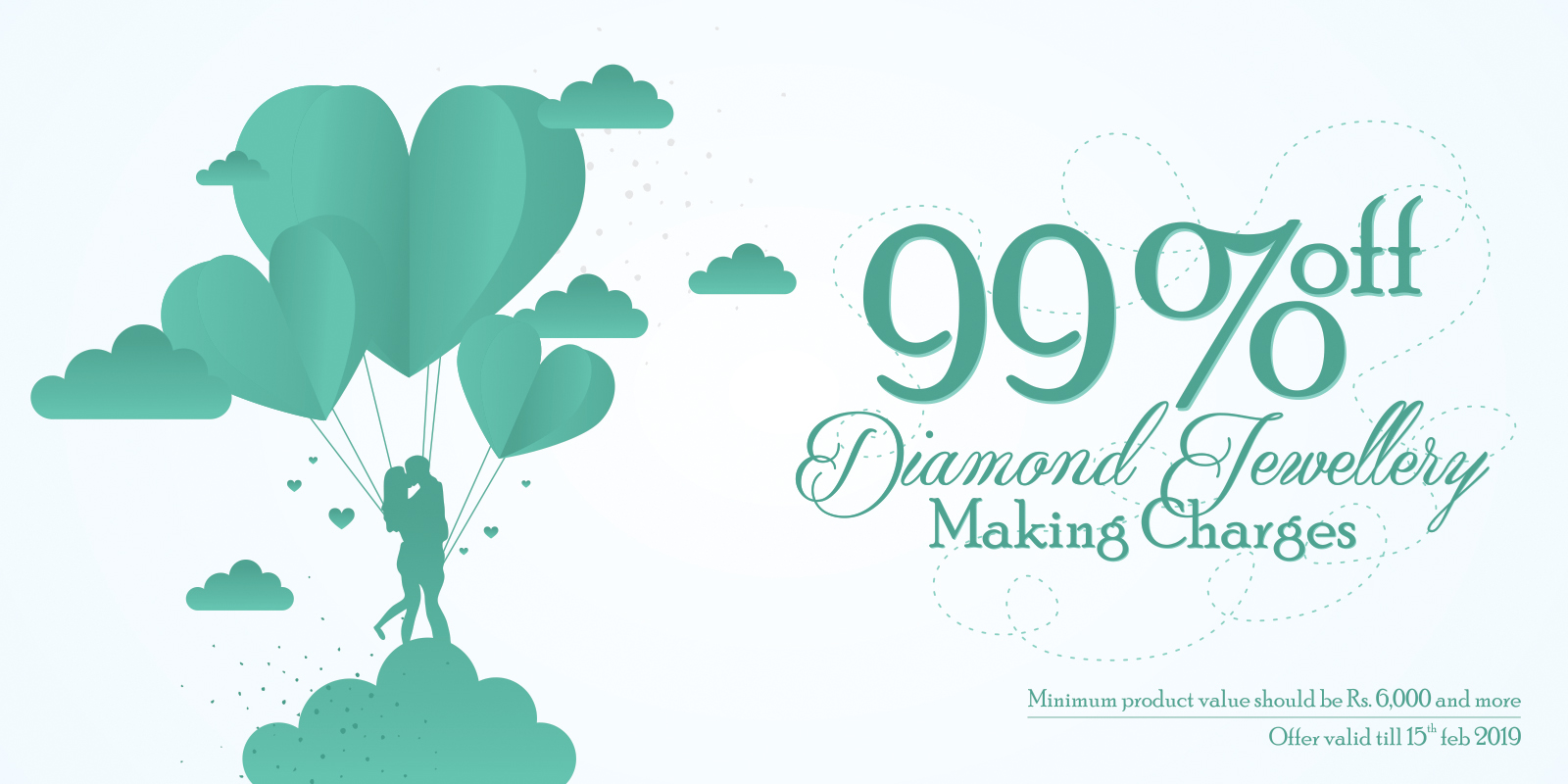 99% off on Diamond Jewelry Making Charges.